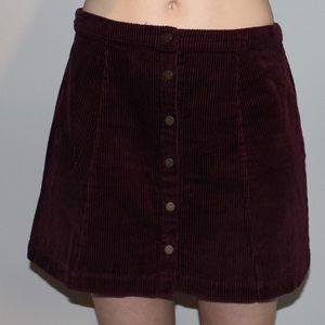 Maroon corduroy skirt
